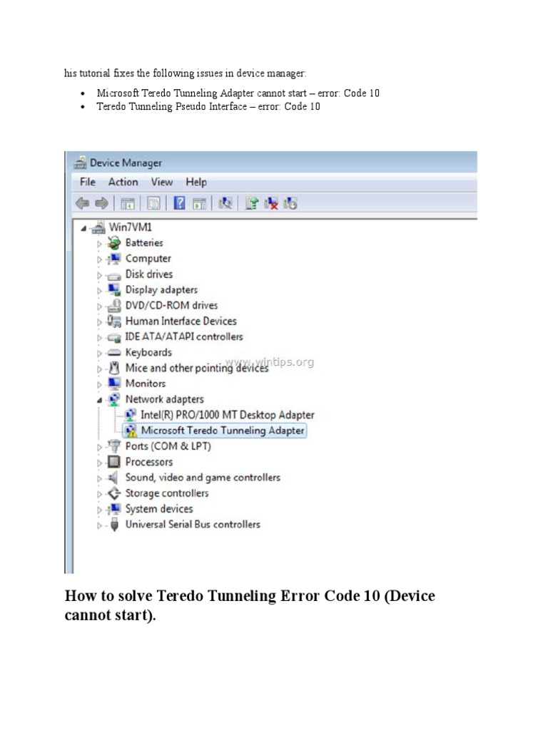 Resolving the Error Message: Microsoft Teredo …