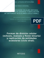 Formas de división celular (mitosis, meiosis y fisión binaria) y replicación de entidades acelulares (ciclo viral).