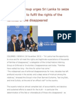UN Expert Group Urges Sri Lanka to Seize the Moment to Fulfil the Rights of the Families of the Disappeared