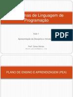 Aula 1 - Paradigmas de Linguagem de Programação