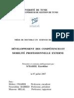 DEVELOPPEMENT DES COMPETENCES ET MOBILITE PROFESSIONNELLE thèse de doctorat ezzeddine M'BAREK 2007