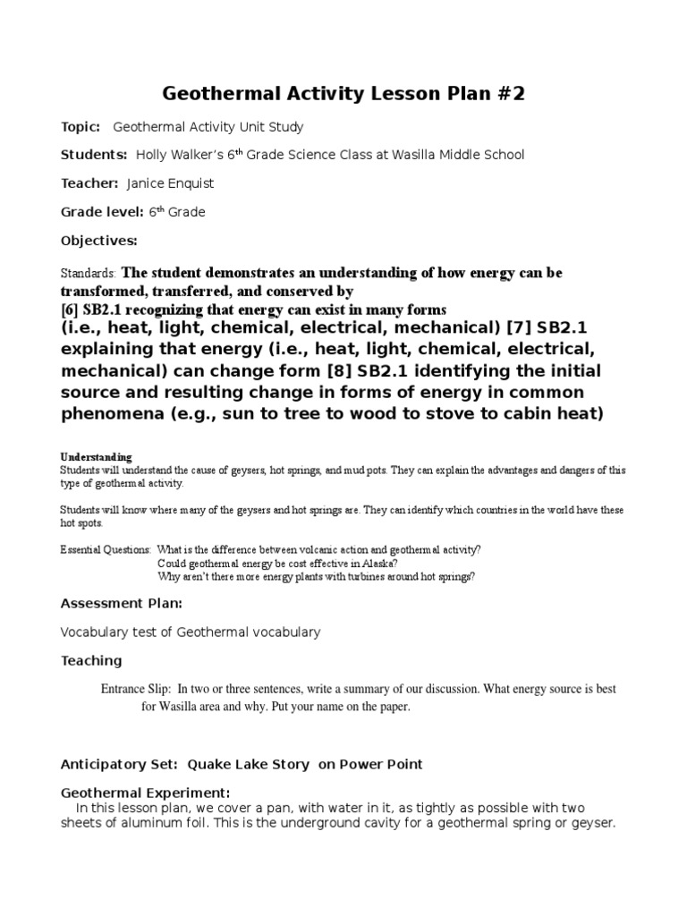 geothermal activity lesson plan 2   Renewable Energy ...