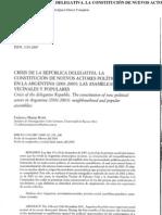 Crisis de la República Delegativa. La constitución de nuevos actores políticos en la Argentina