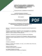 RESOLUCIÓN LEGISLATIVA N° 009-CR-2000