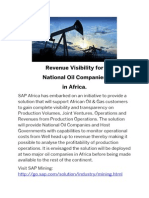 Revenue Visibility for  National Oil Companies  in Africa.