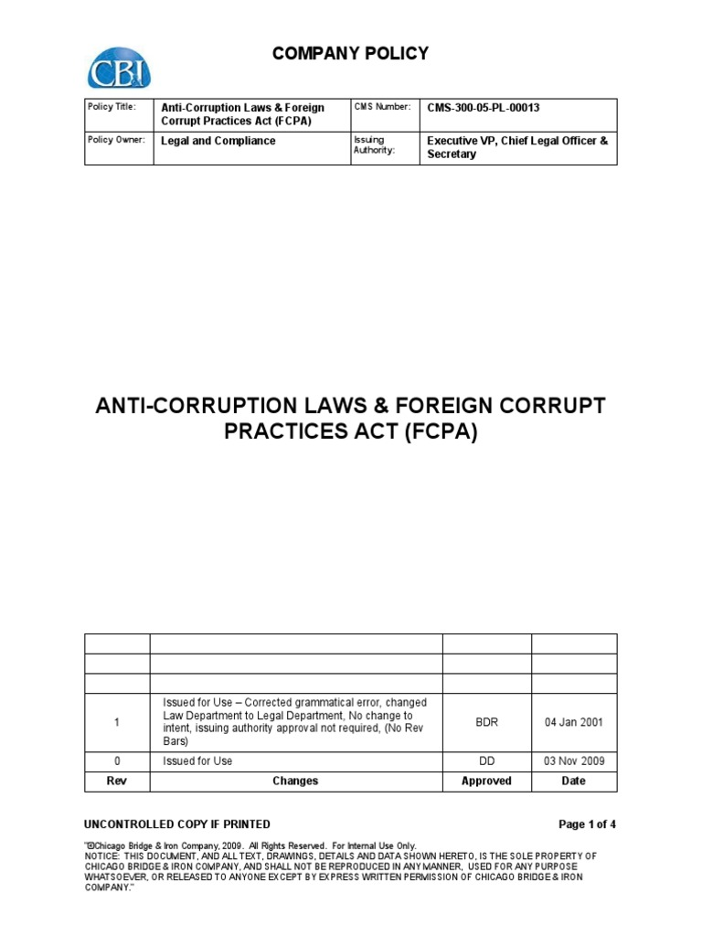 Cms 300 05 Pl 00013 Anti Corruption Laws And Foreign Corrupt