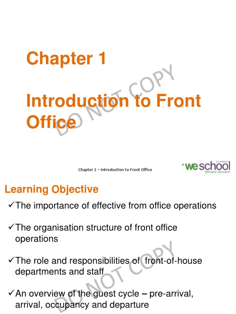 Chapter 1 - Introduction to Front Office_2 | Sales | Foodservice