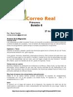 Boletn 6 de Correo Real (Mariposas Monarca)
