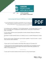 Communiqué de Presse (UPR-Réunion) - François Asselineau Sur l''Arrêté Ministériel Du 15 Nov 2015