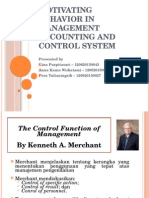 Motivating Behavior in Management Accounting and Control System