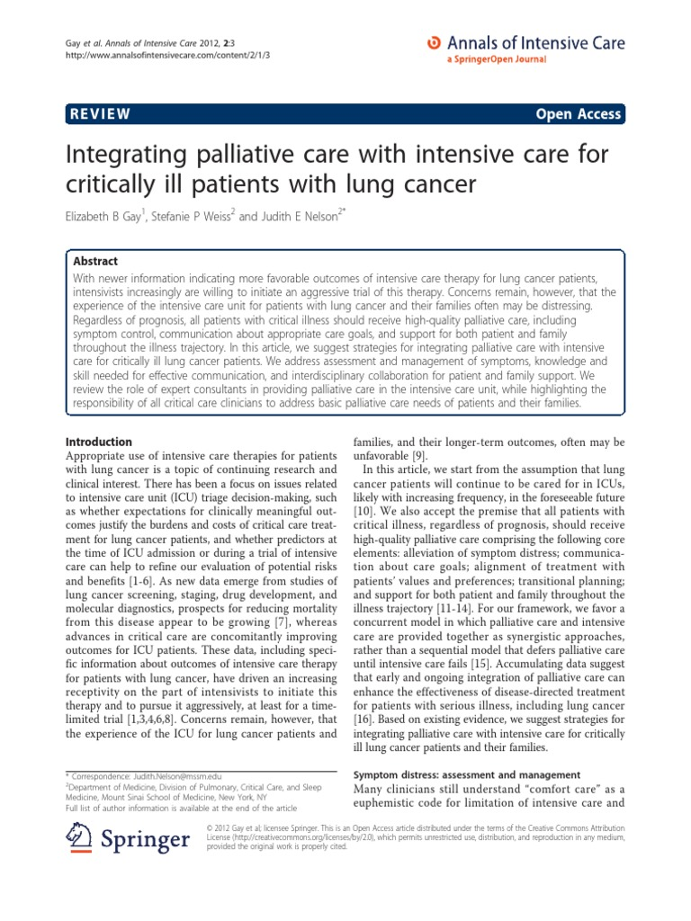 Integrating Palliative Care With Intensive Care for Critically Ill