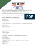 Contoh Soal Tes TOEFL PBT Download Online Terbaru Gratis Pembahasannya - Kumpulan Soal TOEFL