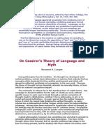 Langeron Cassirer's Theory o fLanguage and Myth