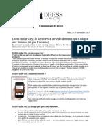 Communiqué de presse DRESS in the City - presse féminine & généraliste  - 19 novembre 2015