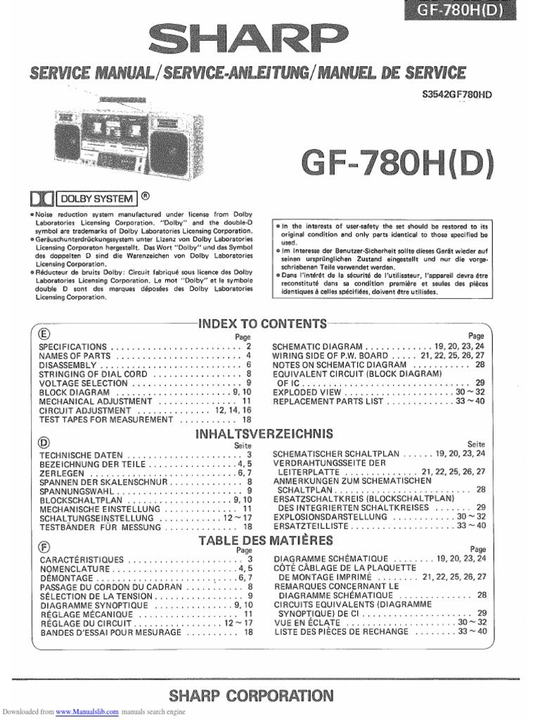 Service Manual Sharp Ghettoblaster Gf780h 1kw Rmsmosfetamplifier Free Download Schematics