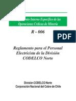 R-006 Reglamento Para El Personal Electrico