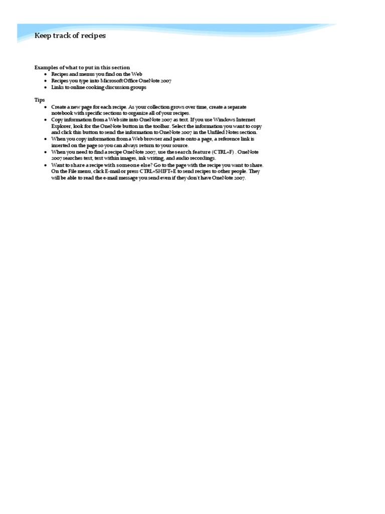 Onenote Notebook Recipes 2