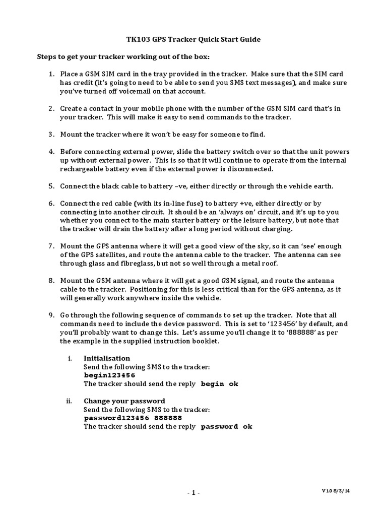 Tk103 Quick Start Guide V10 Subscriber Identity Module Short And Switches To Build A Variety Of Circuits Here Is The Handout Message Service