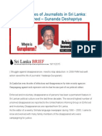 Disappearances of Journalists in Sri Lanka Lessons Learned – Sunanda Deshapriya
