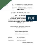 """DISEÑO DE SISTEMAS MECÁNICOS PARA LA TRITURACIÓN, LAVADO Y SECADO DE PE-HD DE DESECHO Y DETERMINACIÓN DE LOS PARÁMETROS DE SELECCIÓN DE UNA INYECTORA PARA LA FMSB SANTA BÁRBARA S.A."""""""
