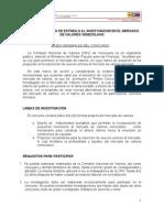 Bases del Primer Concurso de Estímulo al Investigador en el Mercado de Valores Venezolano