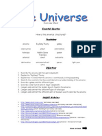the universe - overview sheet