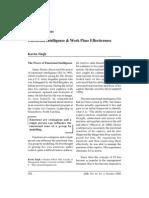 Emotional Intelligence & Work Place Effectiveness
