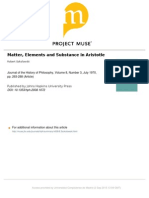 Sokolowski - Matter, Elements and Substance in Aristotle