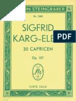 Karg-Elert 30 Flute Capricen
