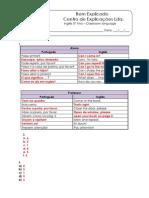 0 - Ficha de Trabalho - Classroom Language (2) - Soluções