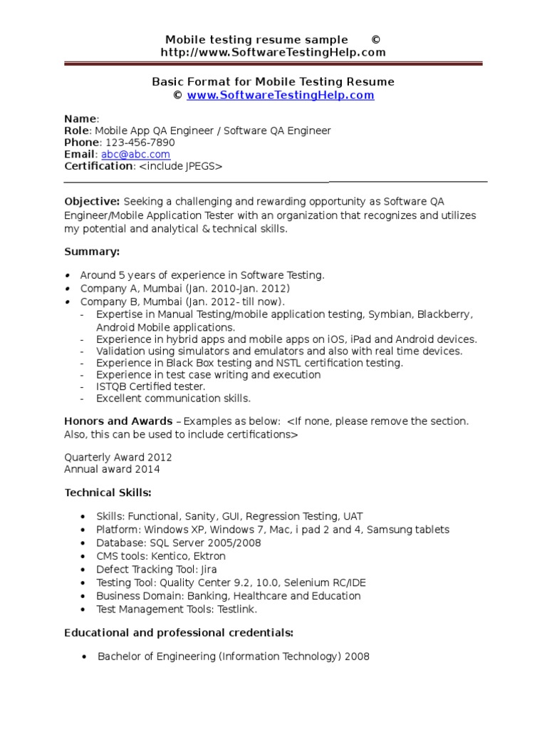 Mobile Testing Resume Sample Document | Mobile App | Application ...