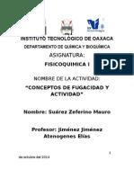 CONCEPTOS DE FUGACIDAD Y ACTIVIDAD