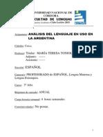Analisis Del Lenguaje en Uso en Argentina