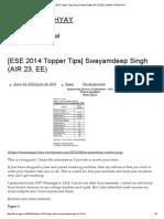 [Ese 2014 Topper Tips] Swayamdeep Singh (Air 23, Ee) _ Sagar Upadhyay
