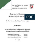 La investigación en la Ingeniería Química, su importancia  e implicaciones éticas.