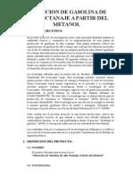 Obtencion de Gasolina de Alto Octanaje a Partir Del Metanol - Avance Word 1