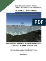 Estudio de Rutas Carretera Huaraz - Tingo Maria
