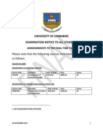 Notice to the Changes on Final Time Table 2015