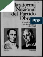 Partido Obrero, Plataforma Nacional Para Las Elecciones Del 30 de Octubre de 1983