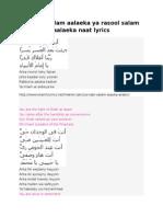 Ya nabi salam aalaeka ya rasool salam aalaeka naat lyrics.docx