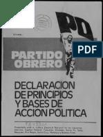 Partido Obrero, Declaración de Principios y y Bases de Acción Política (Enero de 1983)