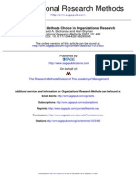 Contextualizing Methods Choice in Organizational Research