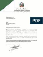 Cartas de condolencias del presidente Danilo Medina a Doroteo y Porfirio Rodríguez Iriarte