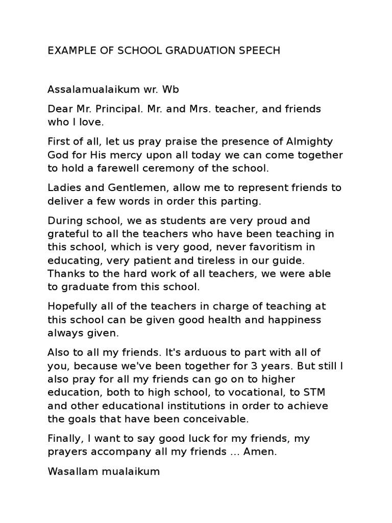 Example of School Graduation Speech