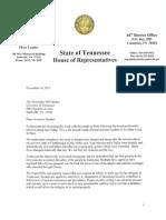 Letter to Gov. Bill Haslam