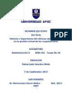 Historia e Importancia Del Sistema Administrativo en La Gestión Actual de Las Organizaciones