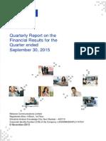 Quarterly Report for September 30, 2015 [Company Update]