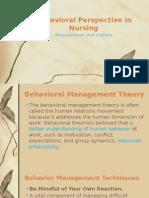 Behavioral Perspectives in Nursing