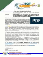 NICP ICT Summit Invite to the HEI Academe
