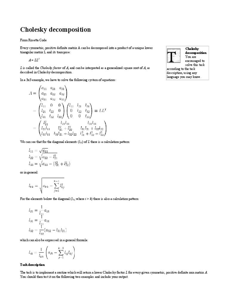 Cholesky Decomposition - Rosetta Code | Software Development